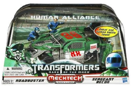 Transformers Dark Of The Moon Mechtech Human Alliance Roadbuster With Sergeant Recon
